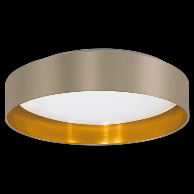 Led Ceiling Lights Gold: This Is A LED Ceiling Light With Glossy Taupe Fabric And