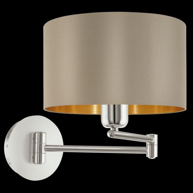 Eglo 95055 Maserlo 1 Light Switched Wall Light Glossy Taupe