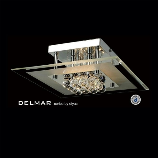 Diyas IL30023 Delmar Square 4 Light Asfour Crystal Ceiling Light Polished Chrome