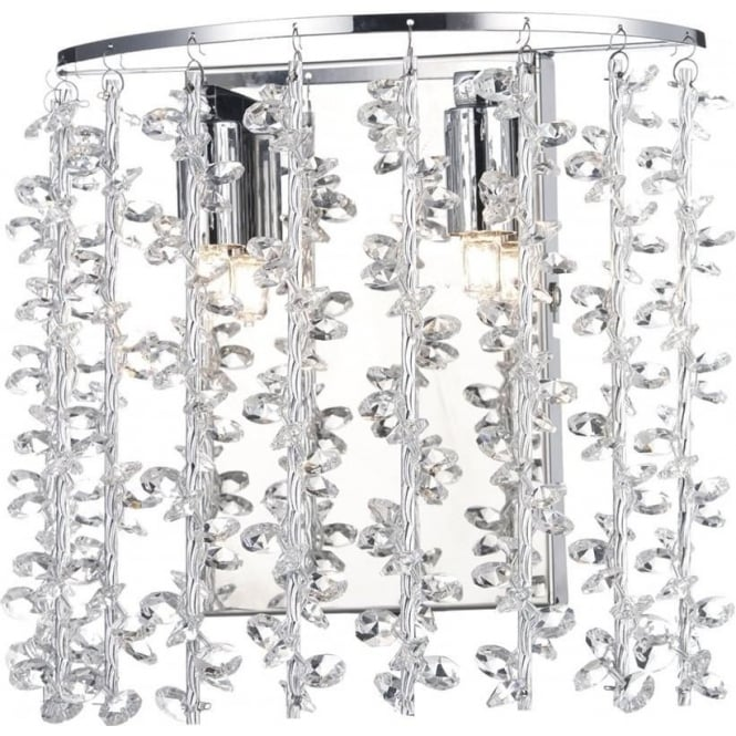Dar SES0950 Sestina 2 Light Crystal Wall Light Polished Chrome