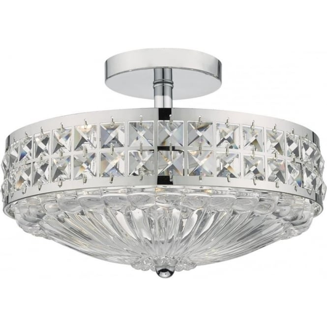 Dar Olo5350 Olona 3 Light Semi Flush Ceiling Light