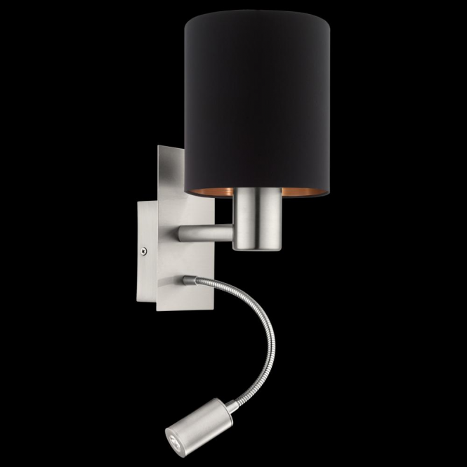 Eglo 95049 Pasteri 1 Light Switched LED Wall Light Matt Black