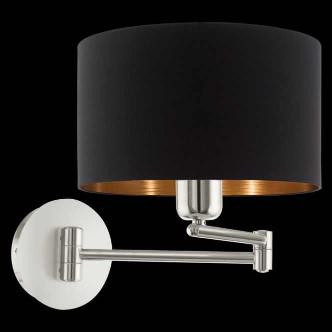 Eglo 95059 Pasteri 1 Light Switched Wall Light Matt Black