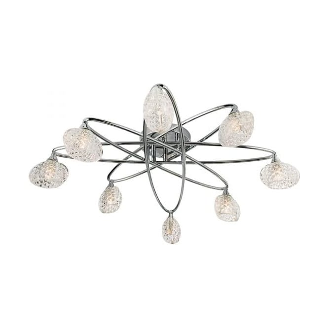 Endon 60927 Eastwood 8 Light Semi Flush Ceiling Light Polished Chrome
