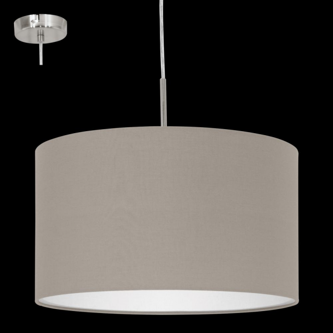 This Is A 1 Light Pendant Complete With A Matt Taupe Shade