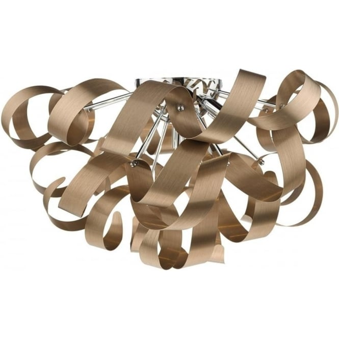 Dar RAW0564 Rawley 5 Light Flush Ceiling Light Brushed Satin Copper