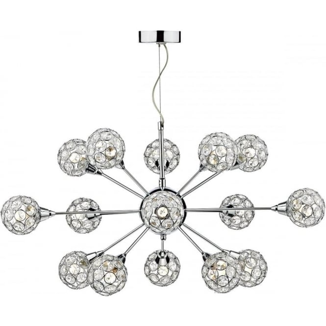Dar TOG1550 Toga 15 Light Ceiling Light Polished Chrome