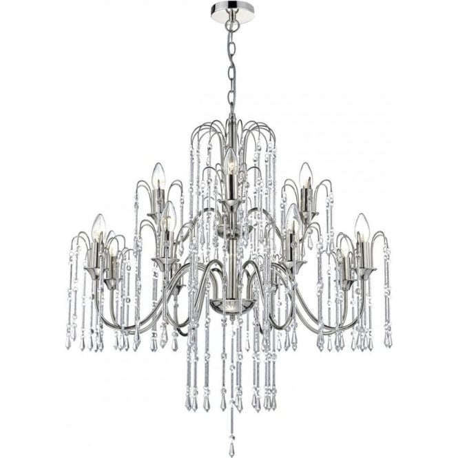 Dar DAN1238 Daniella 12 Light Crystal Chandelier Polished Nickel