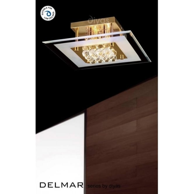 Diyas IL32023 Delmar Square 4 Light Asfour Crystal Ceiling Light Gold Finish
