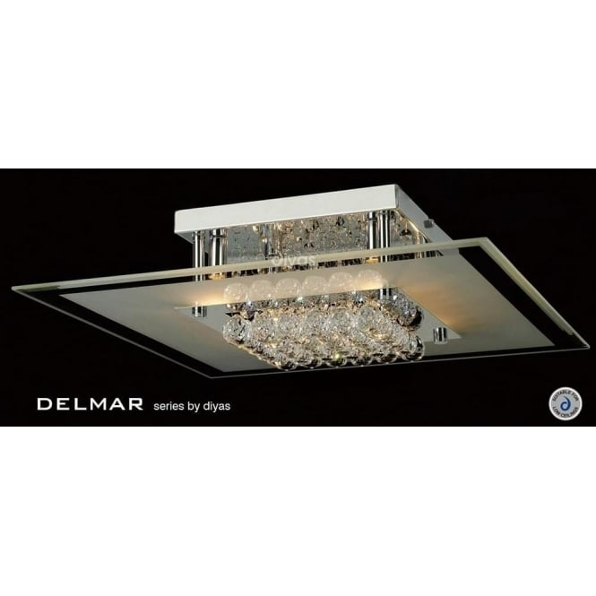 Diyas IL30024 Delmar Square 6 Light Asfour Crystal Ceiling Light Polished Chrome