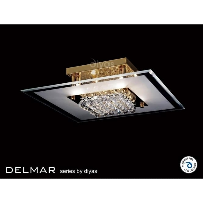 Diyas IL32024 Delmar Square 6 Light Asfour Crystal Ceiling Light Gold Finish