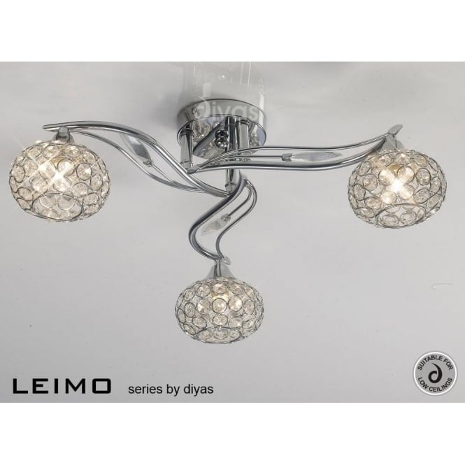 Diyas IL30953 Leimo 3 Light Ceiling Light Polished Chrome