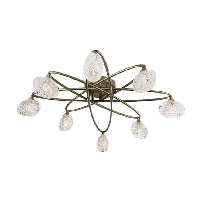 Endon 60926 Eastwood 8 Light Semi Flush Ceiling Light Antique Brass
