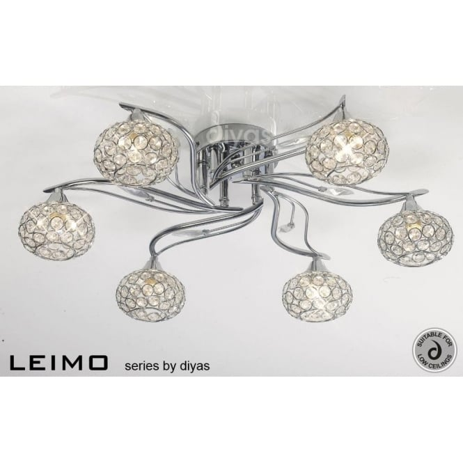 Diyas IL30956 Leimo 6 Light Ceiling Light Polished Chrome