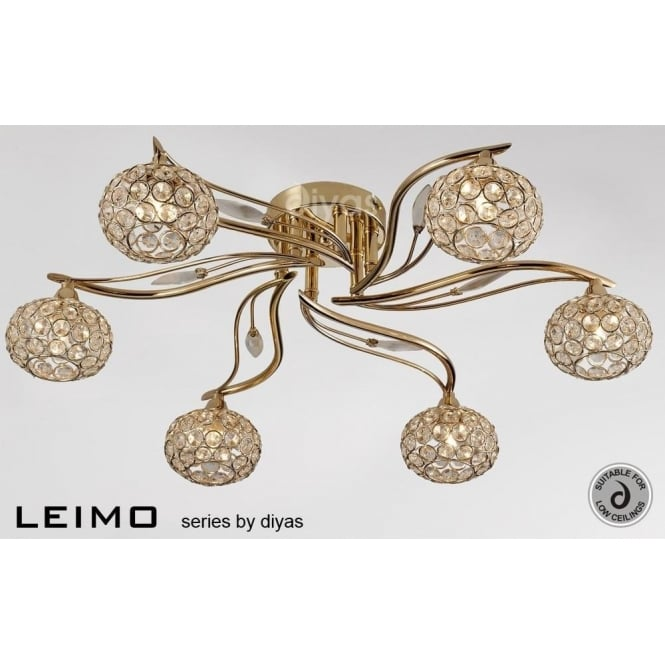 Diyas IL30966 Leimo 6 Light Ceiling Light French Gold