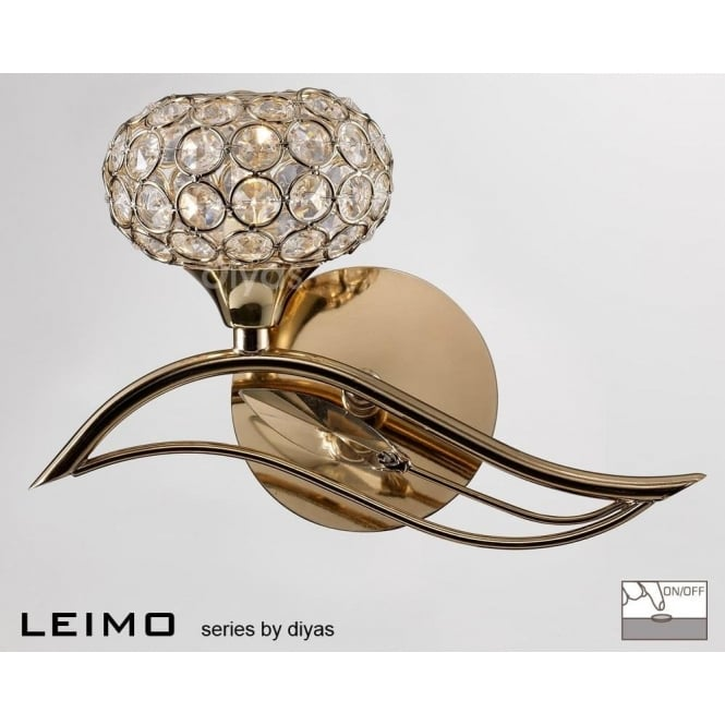 Diyas IL30961/L Leimo 1 Light Switched Wall Light French Gold