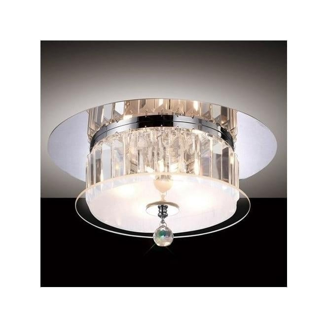 Diyas IL30241 Tosca 4 light Flush Crystal Ceiling Light Polished Chrome