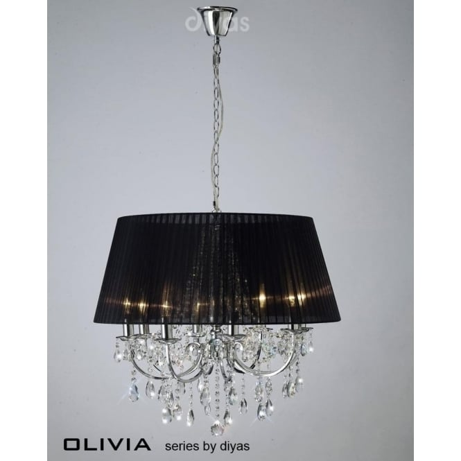 Diyas IL30056/BL Olivia 8 Light Crystal Ceiling Light Polished Chrome