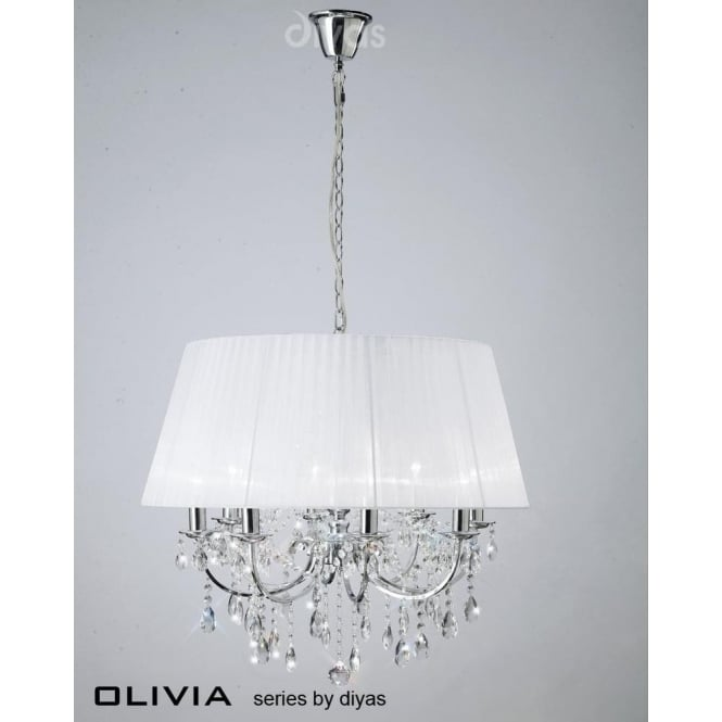 Diyas IL30056/WH Olivia 8 Light Crystal Ceiling Light Polished Chrome