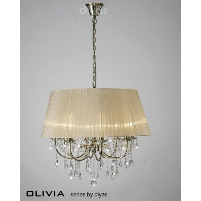 Diyas IL30057/SB Olivia 8 Light Crystal Ceiling Light Antique Brass