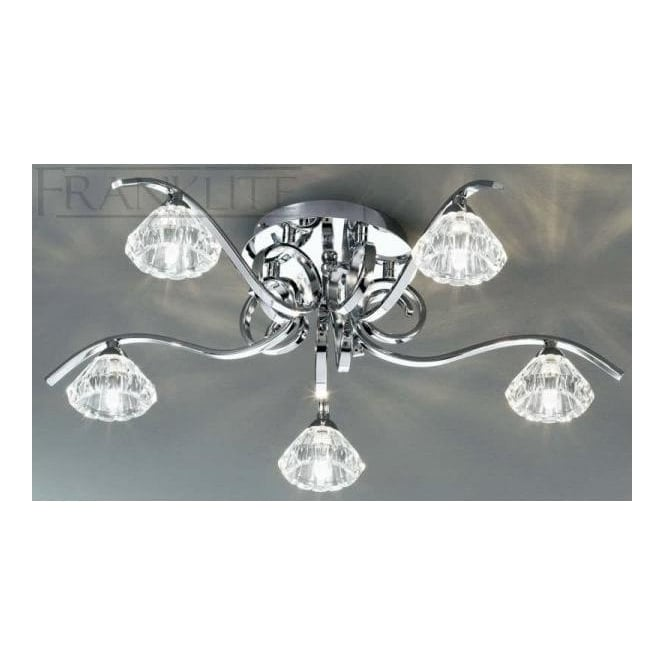 Franklite FL2235/5 Ravel 5 Light Crystal Ceiling Light Polished Chrome