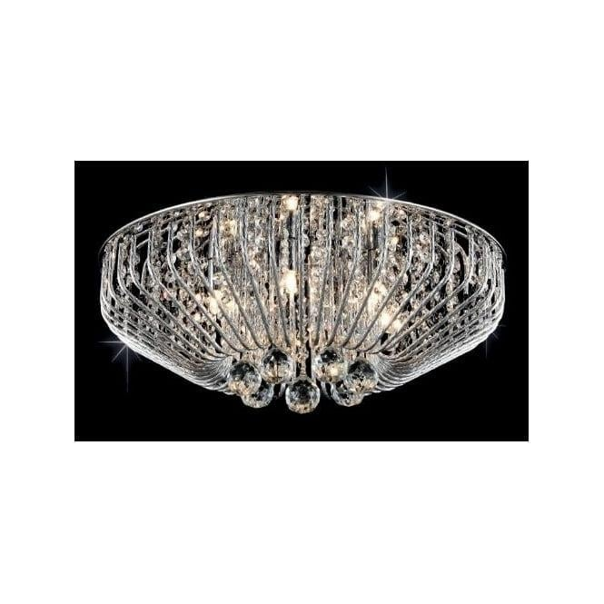 Impex Russell Impex CFH508052/06/PL/CH Carlo 6 Light Flush Crystal Ceiling Light Polished Chrome