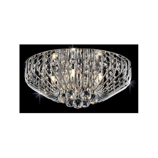 Impex Russell Impex CFH508052/07/PL/CH Carlo 7 Light Flush Crystal Ceiling Light Polished Chrome