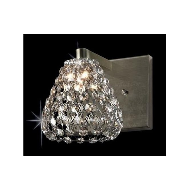 Impex Russell CFH501131/WB/AB Simone 1 Light Crystal Wall Light Antique Brass
