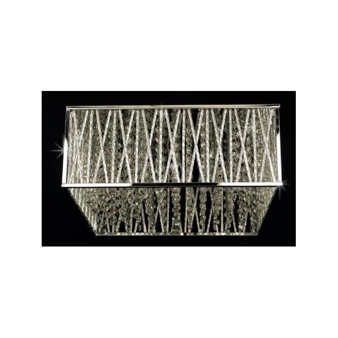Impex Russell CFH310221/04/PL/CH Melenki 4 Light Crystal Flush Ceiling Light Polished Chrome