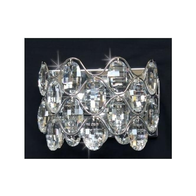 Impex Russell CF412181/02/WB/CH Raina 2 Light Crystal Wall Light Polished Chrome