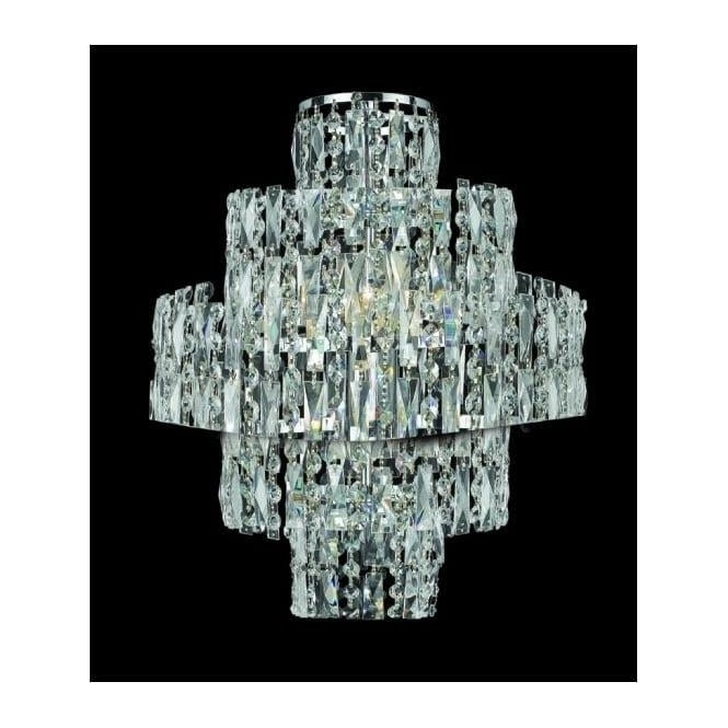 Impex Russell CF03220/WB/CH New York 3 Light Crystal Wall Light Polished Chrome