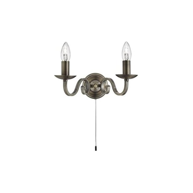 Searchlight 1502-2AB Richmond 2 Light Switched Wall Light Antique Brass