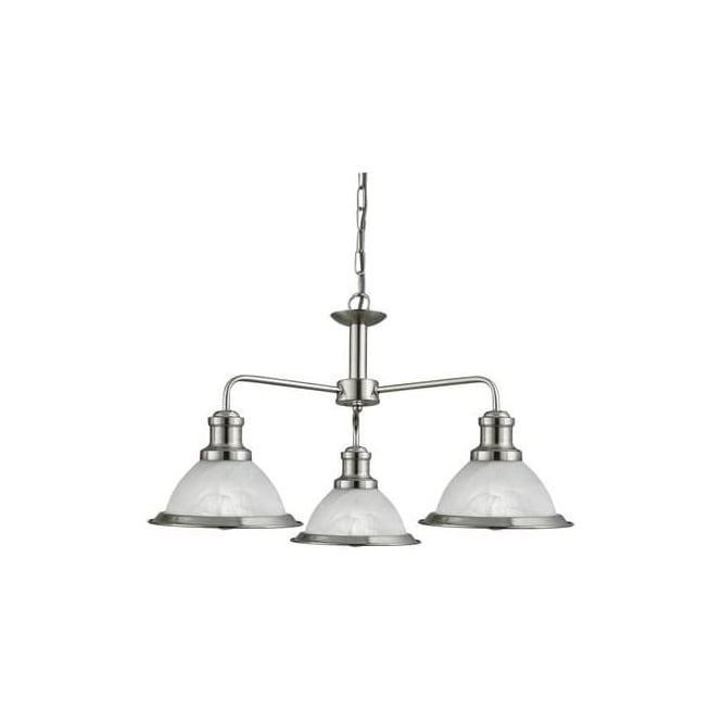 Searchlight 1593-3SS Bistro 3 Light Ceiling Pendant Light Satin Silver