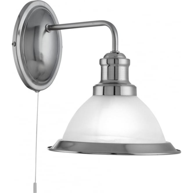 Searchlight 1481SS Bistro 1 Light Switched Wall Light Satin Silver