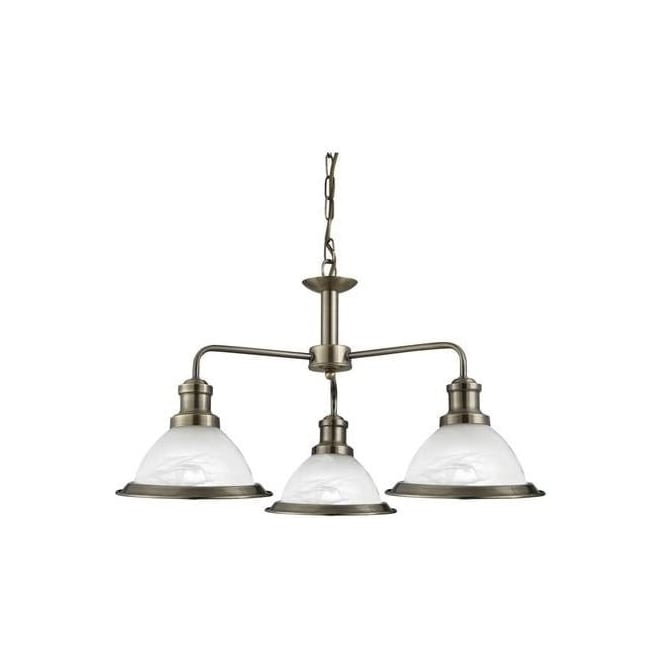 Searchlight 1593-3AB Bistro 3 Light Ceiling Pendant Light Antique Brass