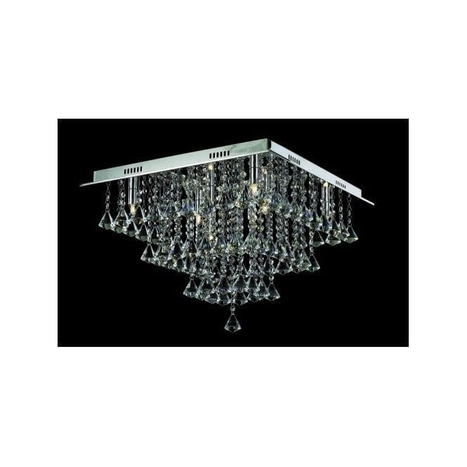 Impex Russell CFH301171/08/PL/CH Parma 8 Light Semi-Flush Ceiling Light Polished Chrome