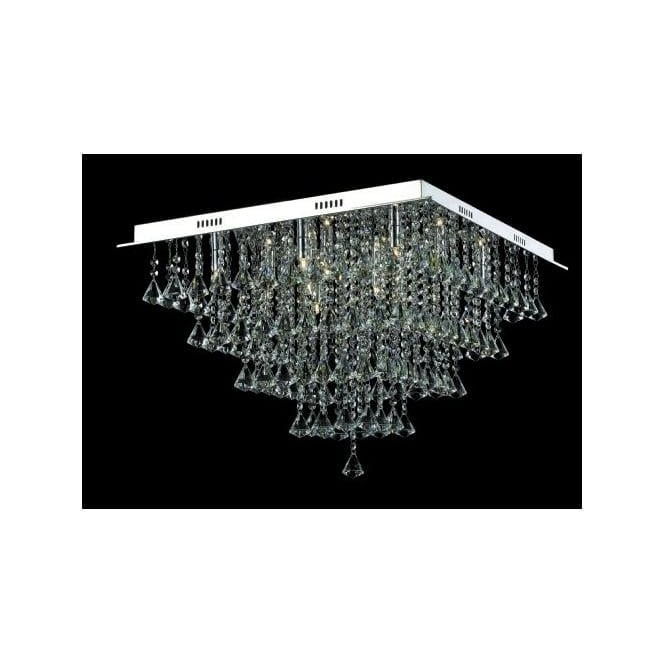 Impex Russell CFH301171/12/PL/CH Parma 12 Light Semi-Flush Ceiling Light Polished Chrome