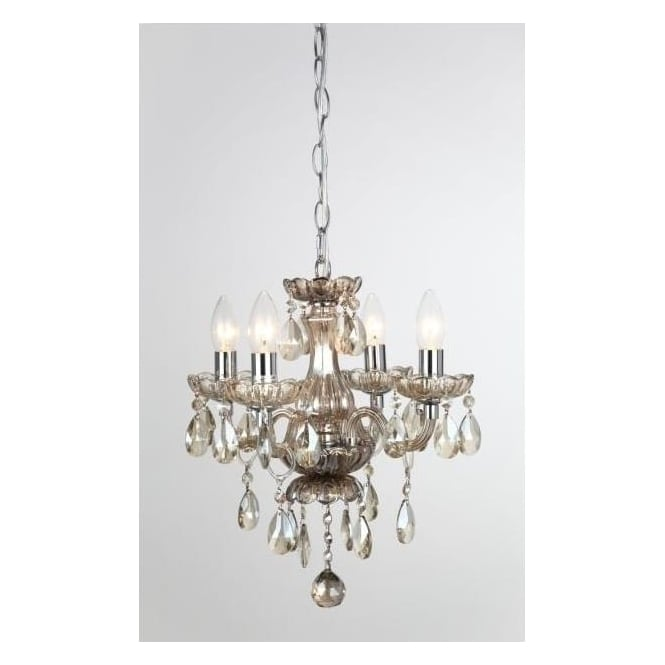 Impex Russell CF211093/04/CHA Rodeo 4 Light Crystal Chandelier Champagne Glass