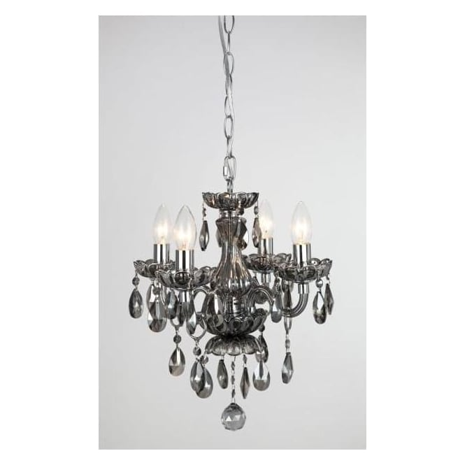 Impex Russell CF211093/04/SMK Rodeo 4 Light Crystal Chandelier Smoked Glass