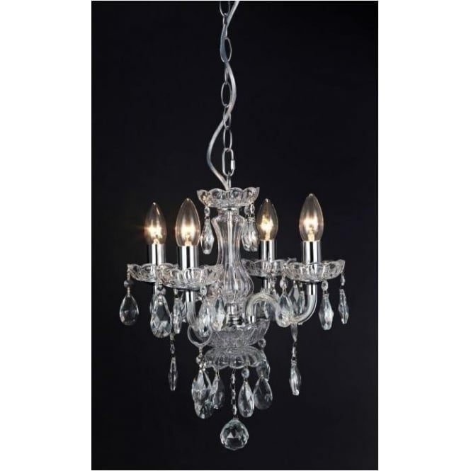 Impex Russell CF211093/04/CLR Rodeo 4 Light Crystal Chandelier Polished Chrome