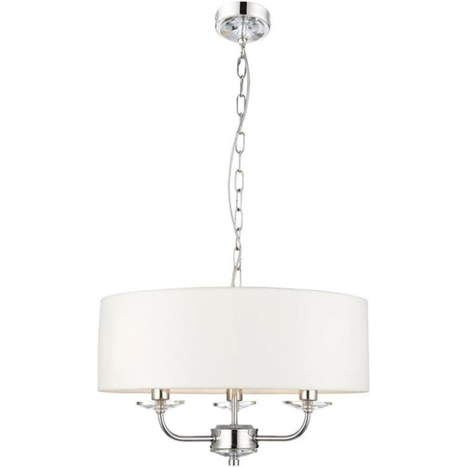Endon 60129 Nixon 3 Light Ceiling Light Polished Nickel