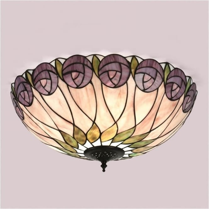 Interiors 1900 64173 Hutchinson 2 Light Tiffany Flush Ceiling Light