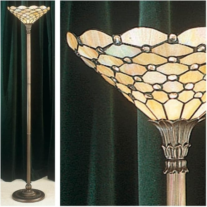 Interiors 1900 64299 Pearl 1 Light Tiffany Floor Uplighter