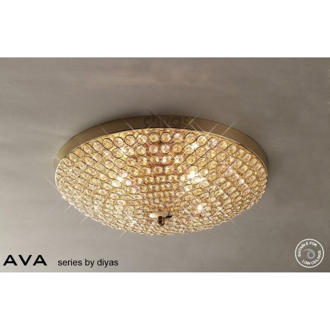 Diyas IL30756 Ava 4 Light Flush Ceiling Light French Gold