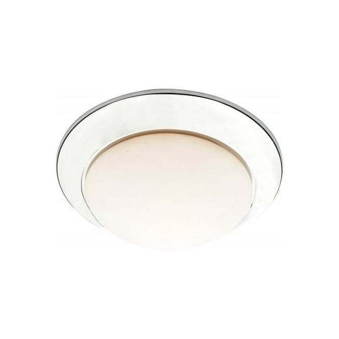 Dar YEO5250 1 Light Small Flush Ceiling Light Polished Chrome IP44