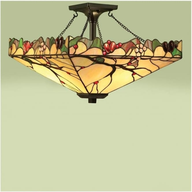 Interiors 1900 63908 Arbois 2 Light Tiffany Semi Flush Ceiling Pendant