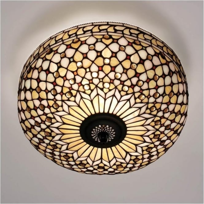 Interiors 1900 64276 Mille Feux 2 Light Tiffany Flush Ceiling Light