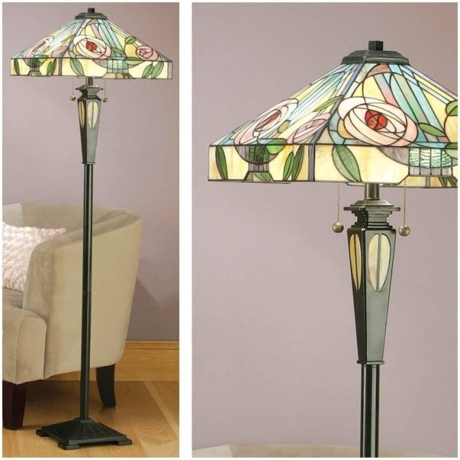 Interiors 1900 64383 Willow 2 Light Tiffany Floor Lamp