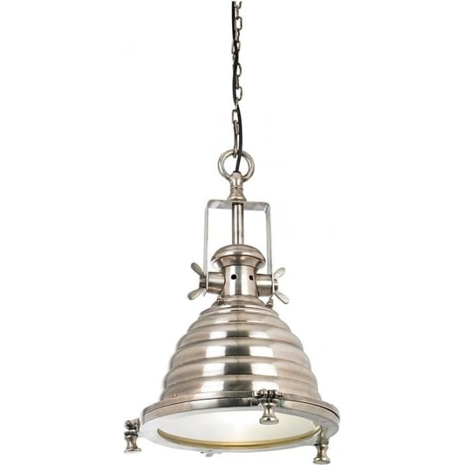 Endon EH-GASKELL Gaskell 1 Light Ceiling Pendant Silver