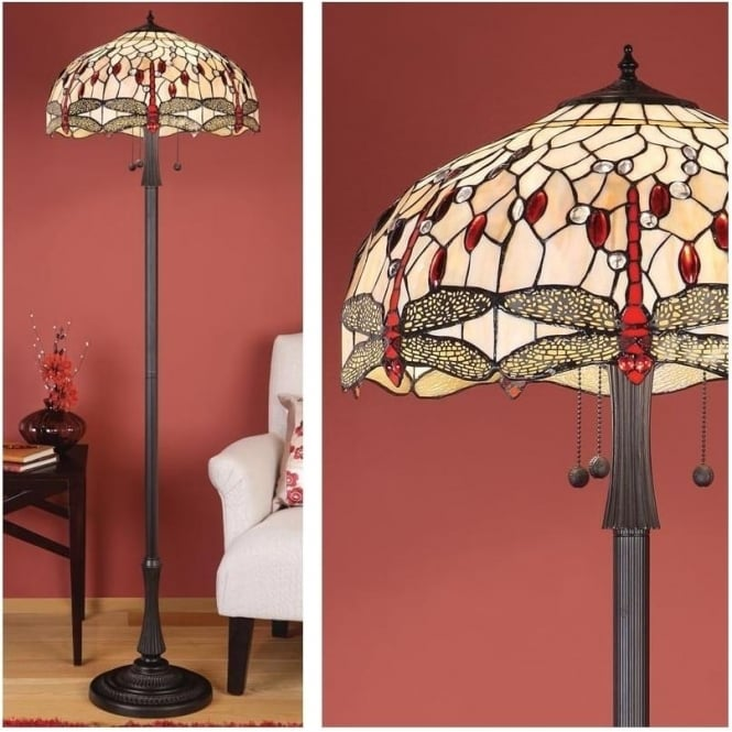 Interiors 1900 64068 Beige Dragonfly 3 Light Tiffany Floor Lamp